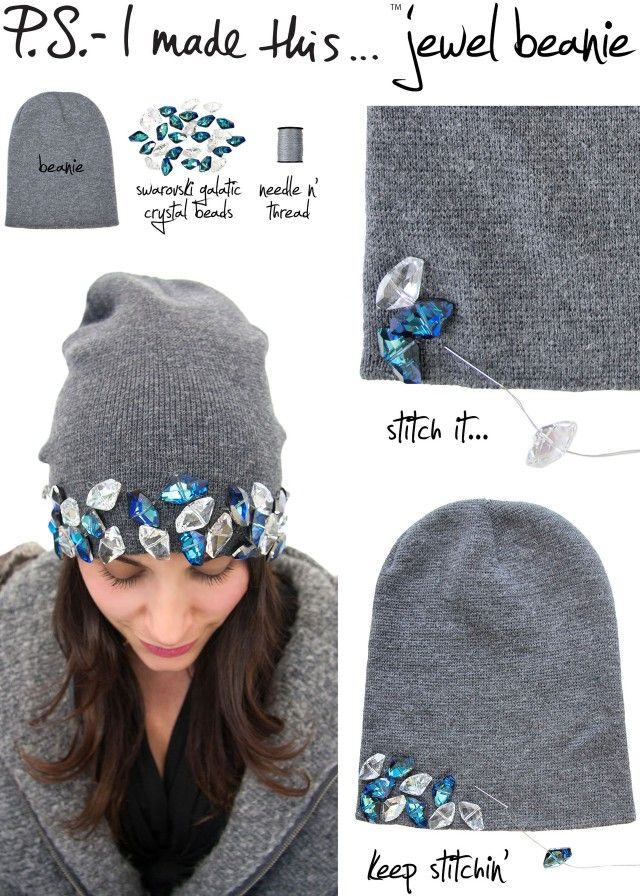 Ps i made this- diy jewel beanie. I would do all different beanies ... 3ef5f1c1118