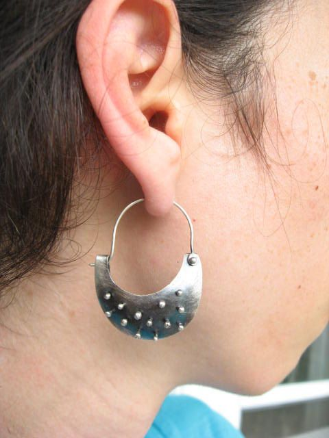 Sterling silver beaded rivet crescent hoop by LisaColbyMetalsmith ...