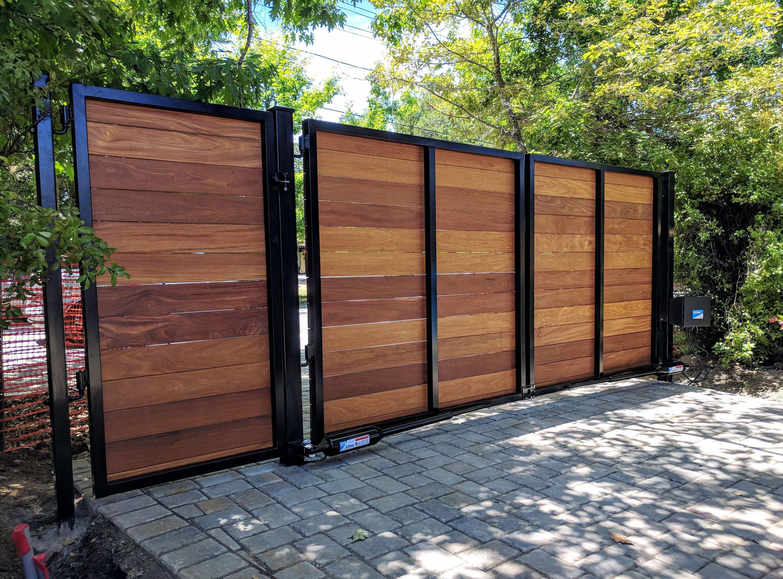 Wooden Driveway Gate Kit Wrought Iron Horizontal Ironwood