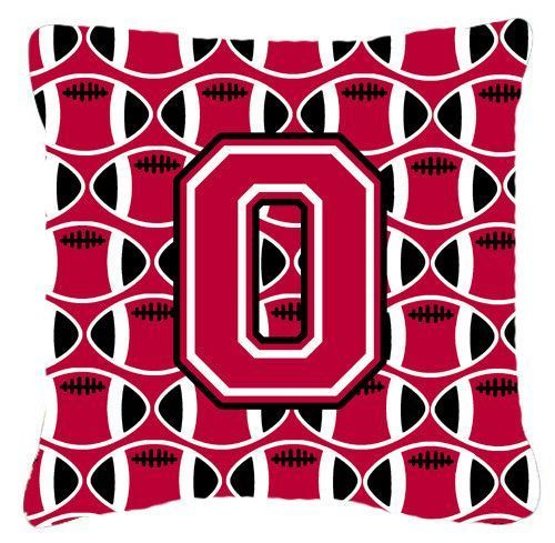 Letter O Football Crimson and White Fabric Decorative Pillow CJ1079-OPW1414