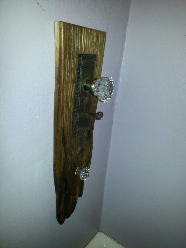 Maple barn board and knobs for bathroom towels