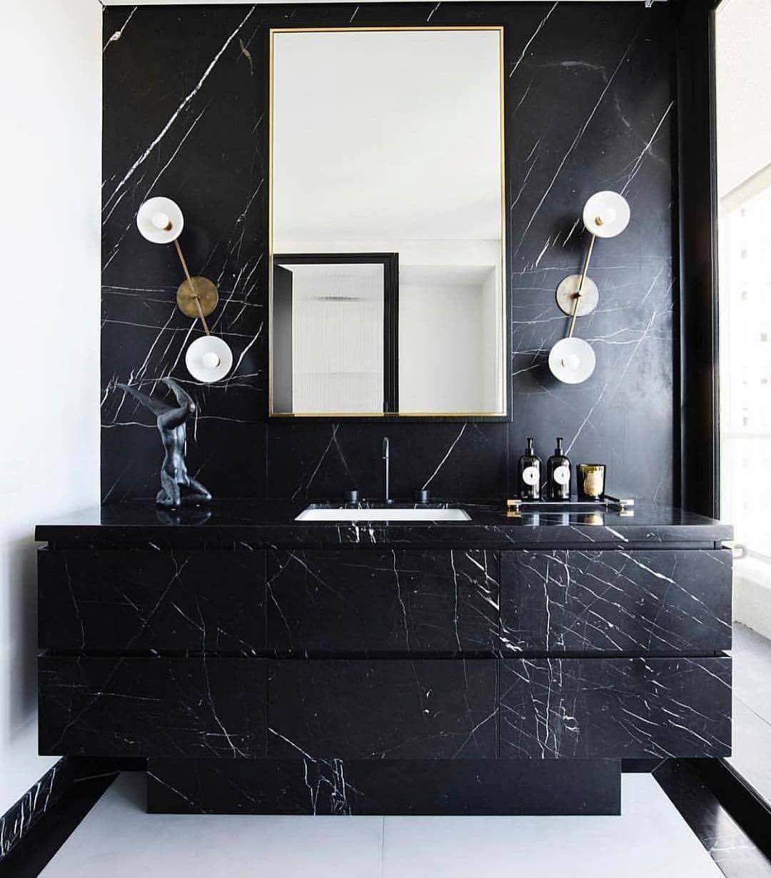 Courtney Schrank Design Studio On Instagram Black Tie Affair Minimalism Means Letting The Ma Luxury Bathroom Vanities Black Marble Bathroom Bathroom Design