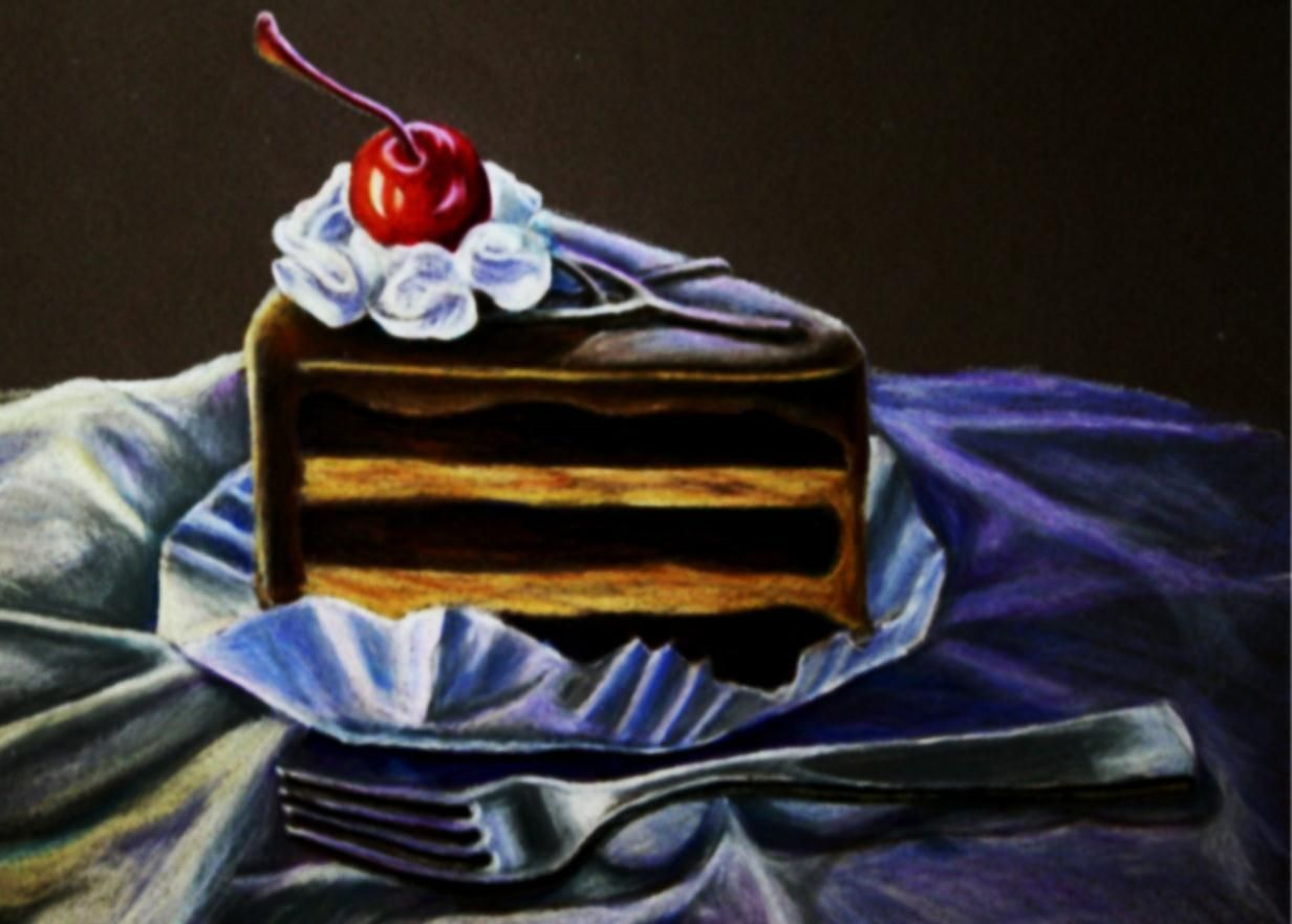 Drawing Cake Colour Espresso Cake Colored Pencil Drawing Hillaryscott