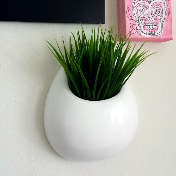 Ceramic Wall Planter White Round Pocket Hand Painted Modern Home Decor Hanging Vase Made To Order