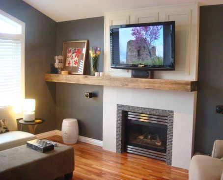 Fireplace Mantel Colors Wood Beam Mantel That Extends To Floating Shelf With Cabinets Black Fireplace Mantels Floating Fireplace Fireplace Mantel Shelf