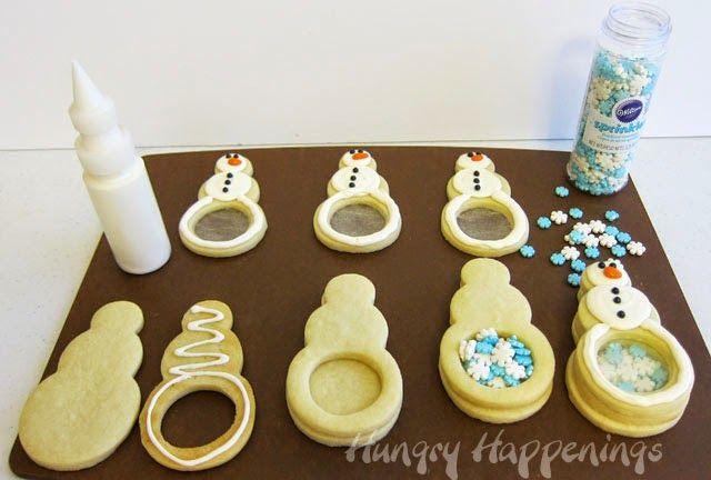Snowflake Filled Snowman Cookies #cookies