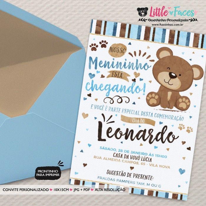 35 00 Convite Cha De Bebe Ursinho Marrom E Azul Para Imprimir