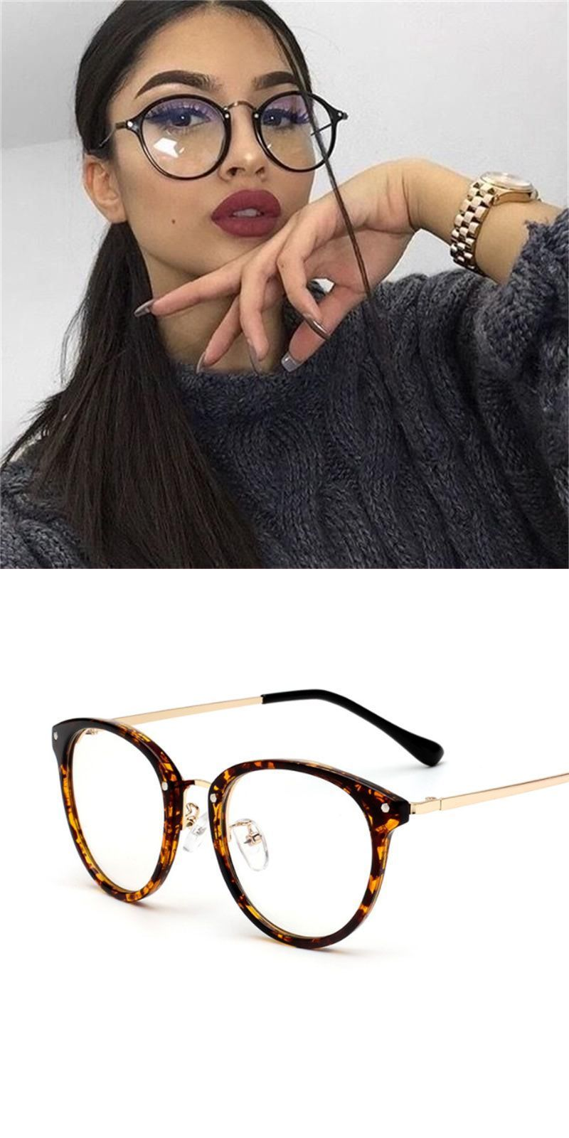 Retro round glasses women transparent clear lens glasses female 2018 vintage  optical blue light rivet speactacles c7d4e1b912