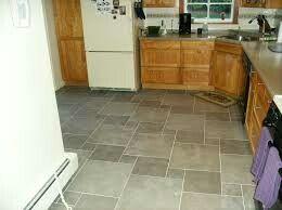 Hard To Find Gray Floors And Honey Oak Cabinets But I Found A Few Tile Floor Floor Tile Design Kitchen Floor Tile Patterns
