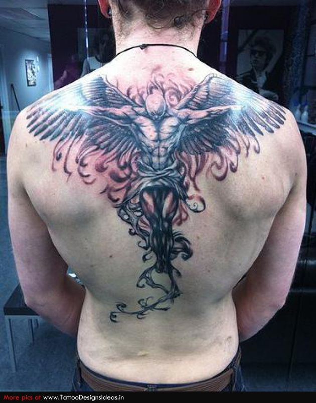 Attractive Upperback Angel Tattoo For Men Appealing Tattoos For