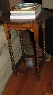"""Piecrust barley twist end table for the living room.  This concludes the """"new furniture purchases"""" section of this Pinterest board - but the remodel freed up some space, and I filled it."""