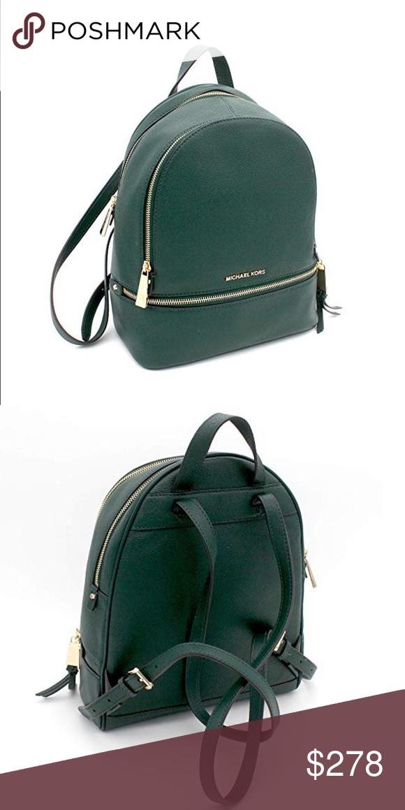 Michael Kors Rhea Zip Backpack Racing Green Backpack Straps Michael Kors Bag Leather