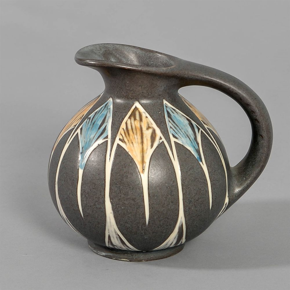 Herman A Kahler Decorated Ceramic Pitcher Denmark
