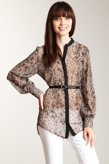 style with black trousers:Halona  Mandarin Collar Print Blouse grey snake print
