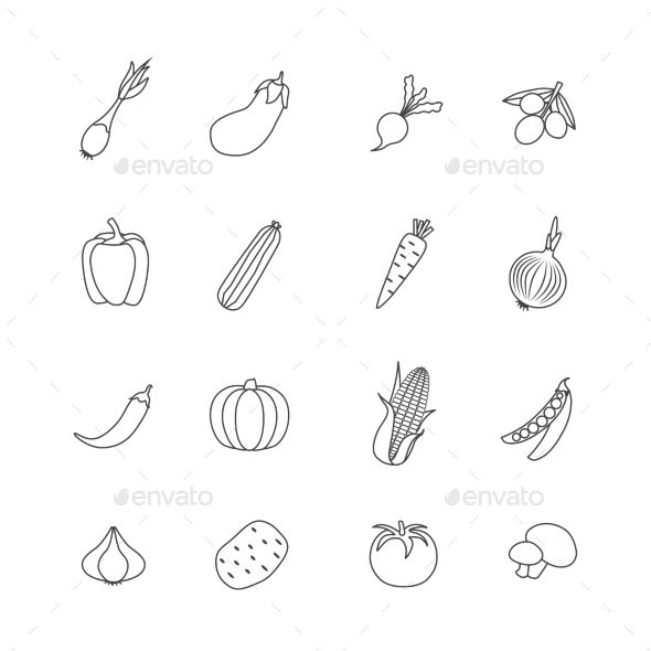 Vegetables Lined Isolated Icon Flat Set — Vector EPS #natural #eggplant • Available here → https://graphicriver.net/item/vegetables-lined-isolated-icon-flat-set/16073941?ref=pxcr