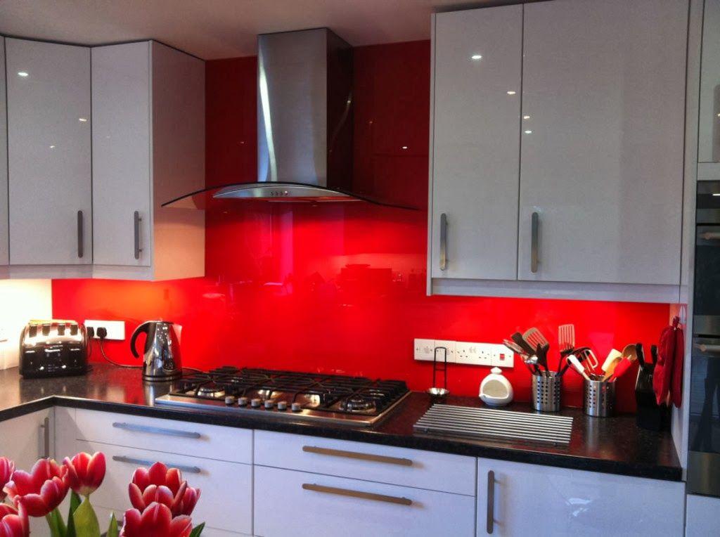 Image Result For Solid Glass Backsplash Red Kitchen Decor Red White Kitchen Red Kitchen