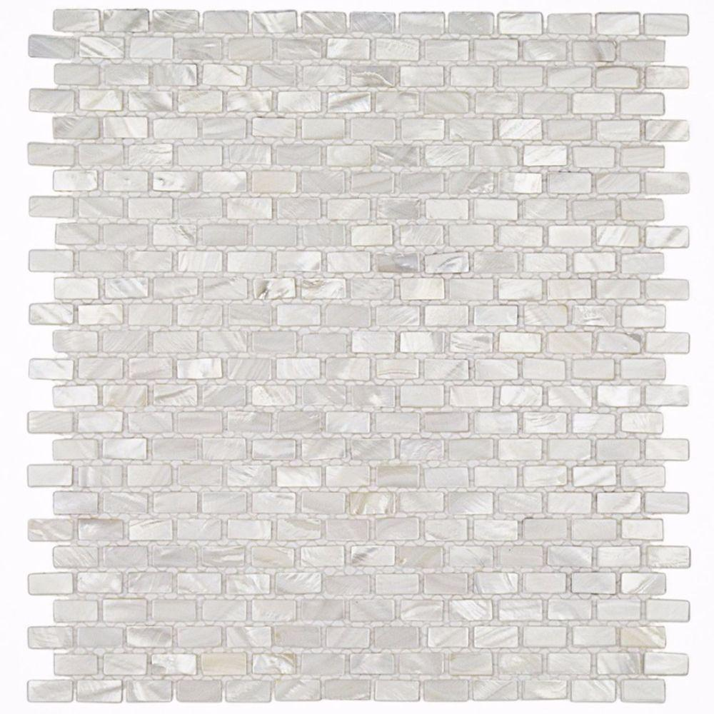 Ivy Hill Tile Mother Of Pearl Mini Brick Pattern 11 1 4 In X 12 1 4 In X 2 Mm Pearl Mosaic Floor And Wall Tile Ext3rd102055 The Home Depot White Pearl Tiles Mosaic Flooring Pearl Tile