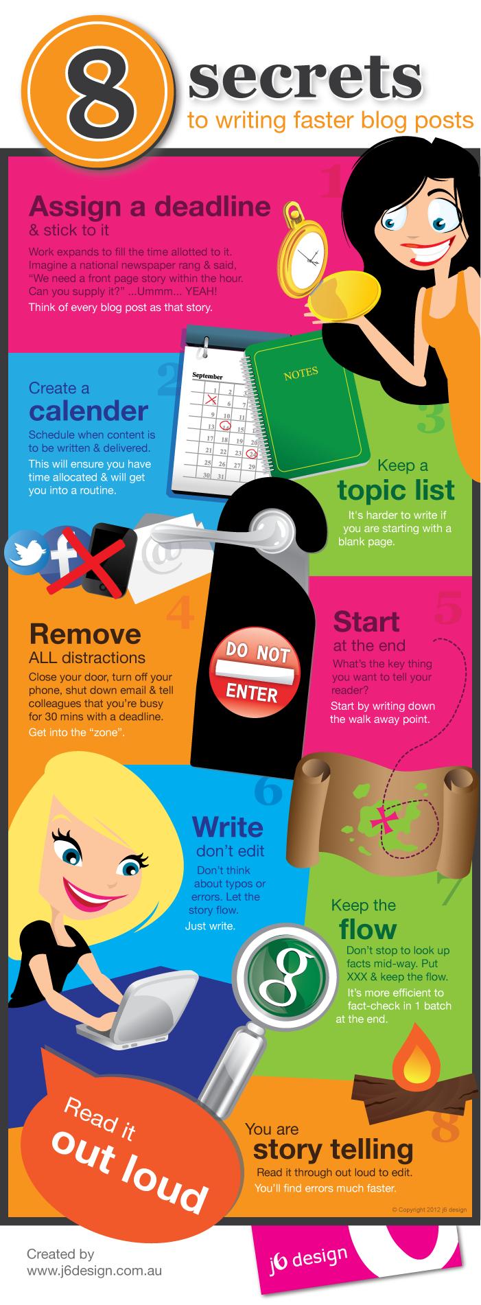 8 secrets to writing faster blog posts #infographic // 8 secretos para escribir post rápidamente #infografia (repinned by @ricardollera)