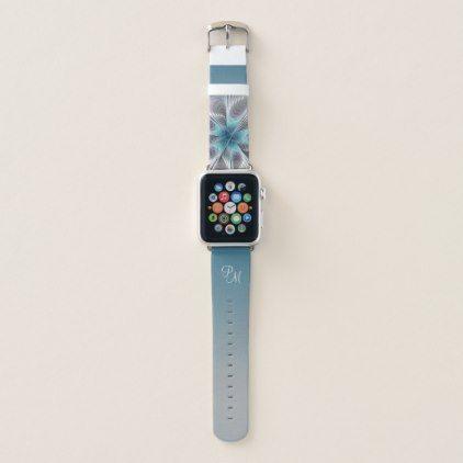Elegance Modern Blue Gray White Flower Monogram Apple Watch Band Zazzle Com Apple Watch Bands Cute Apple Watch Bands Apple Watch Fashion