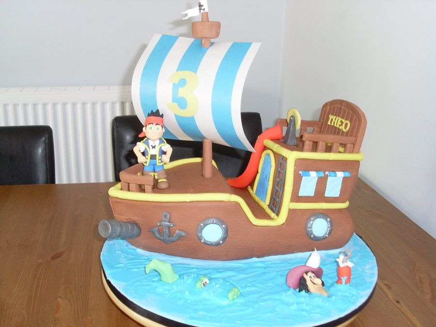Bucky the pirate ship with Jake & Hook - by sugar @ CakesDecor.com - cake decorating website