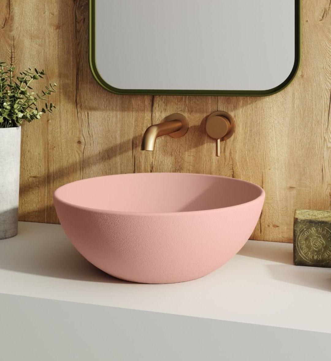 salle de bain meuble blanc vasque rose