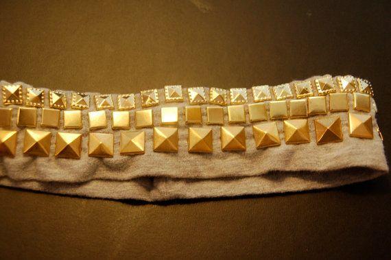 Gold Pyramid studded headband by StudMuffinByKARPSA on Etsy, $11.00