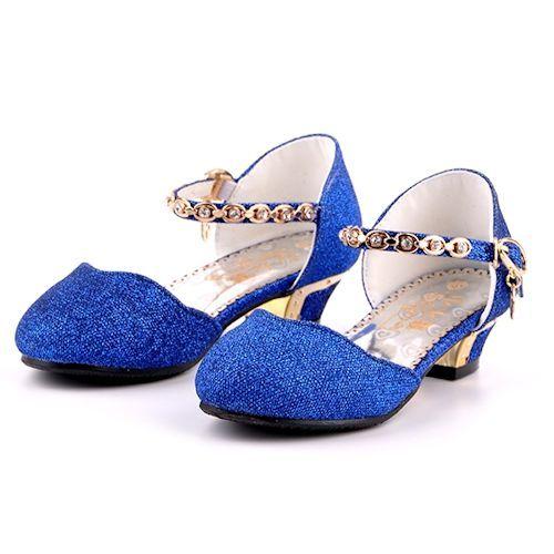 Royal Blue Glitter High Heel Flower Pageant Girls Party Dress Shoes Sku 133677 Blue Wedding Shoes Royal Blue Wedding Shoes Sparkle Wedding Shoes