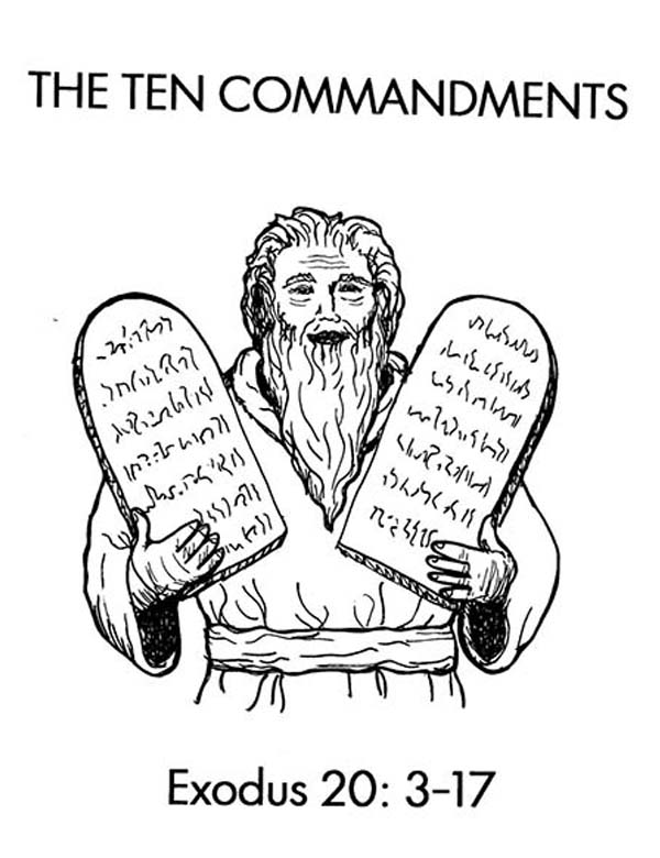 Moses And Ten Commandments Stone Tablets Coloring Page