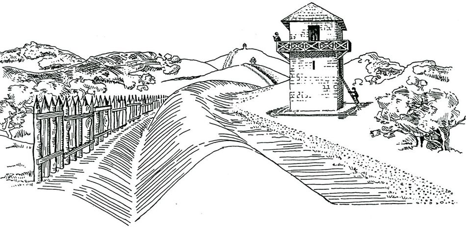final form of the ditch and stockade fortifications along