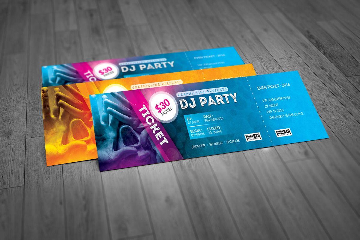 Elegant Event Ticket Template Graphic Templates Event Ticket Template Ticket Template Ticket Design Template