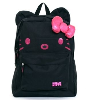 232e1a7bc NWT Loungefly Hello Kitty Black & Pink Backpack with Ears & 3D Sequin Bow  on eBay!