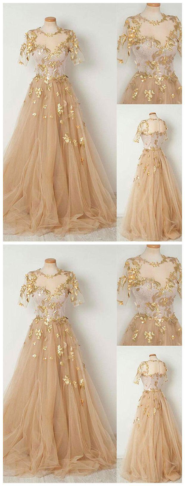 Sparkly prom dress aline scoop short sleeve gold long prom dresses