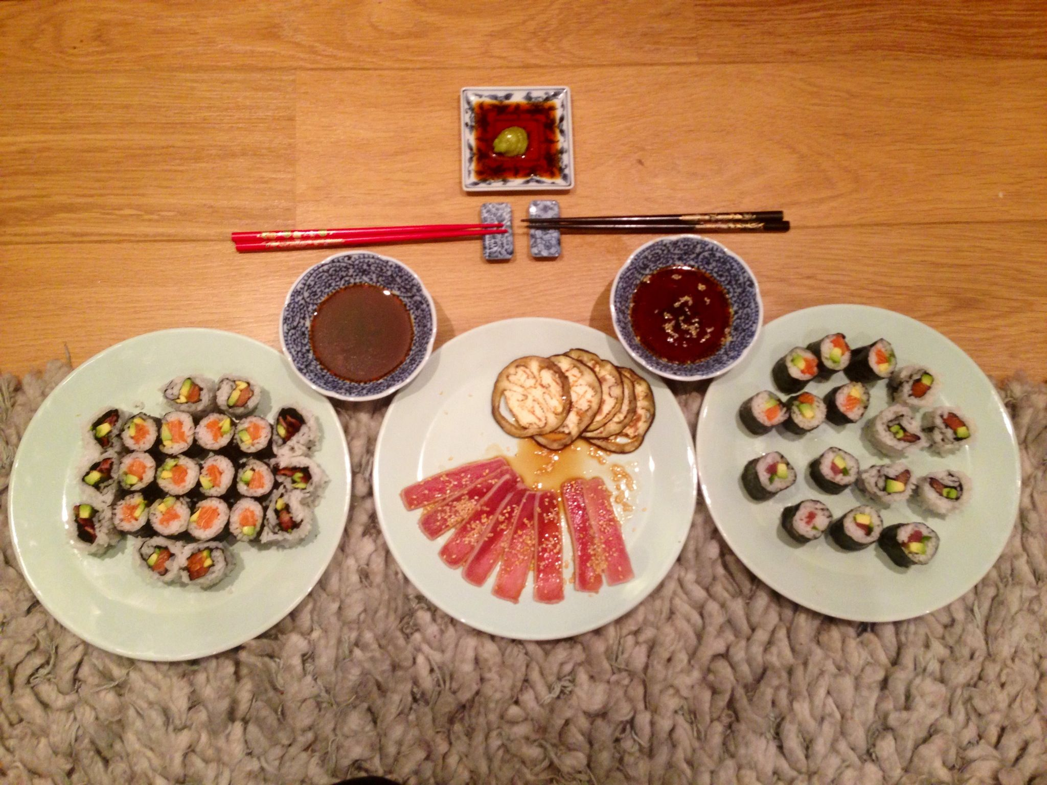 Seared Tuna with griddled Aubergine & Homemade Sushi - Salmon & Avocado Maki Sushi - Tuna & Avocado - Salmon & Avocado California rolls - Crispy Bacon & Avocado California rolls