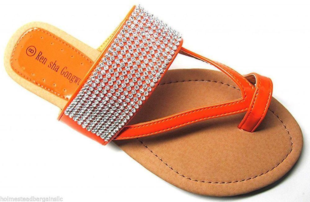 05997f597 Women s Crystal Rhinestone Orange Toe Ring T-Strap Flat Sandals Size US 6-11