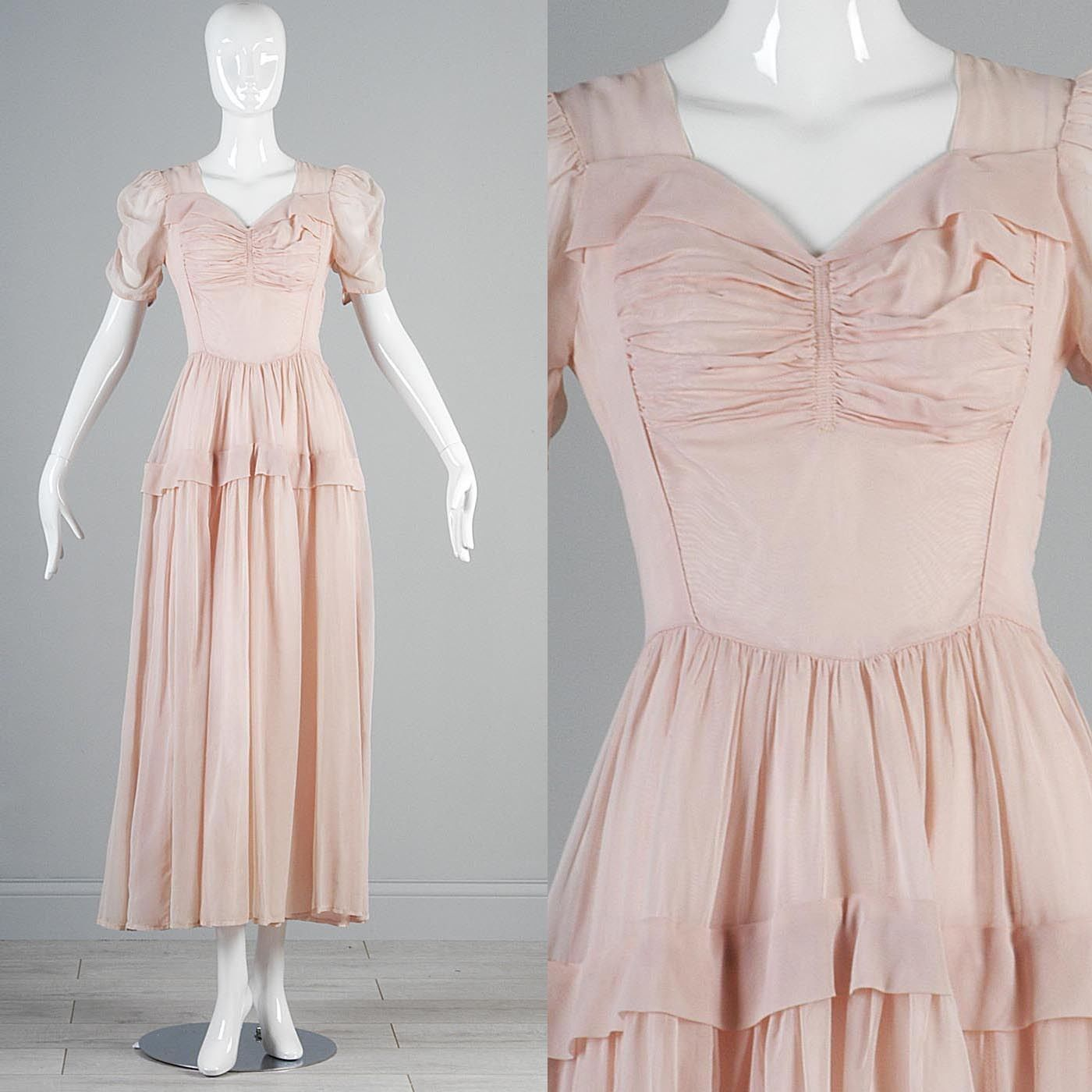 Vtg s pale pink sheer chiffon rouched poof sleeve princess dress