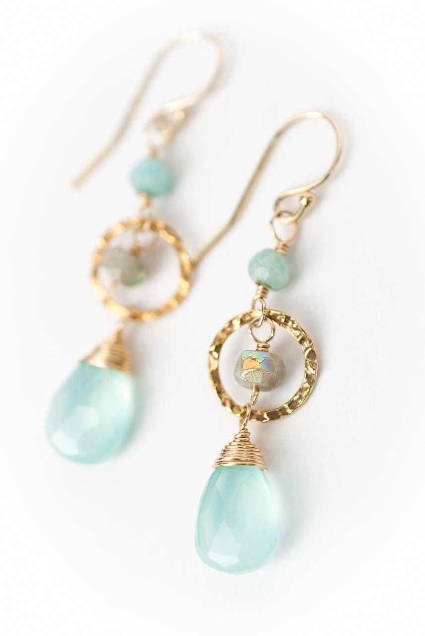 Aqua Chalcedony Green Jade 14kgf small dangle earrings wire wrapped gift for her