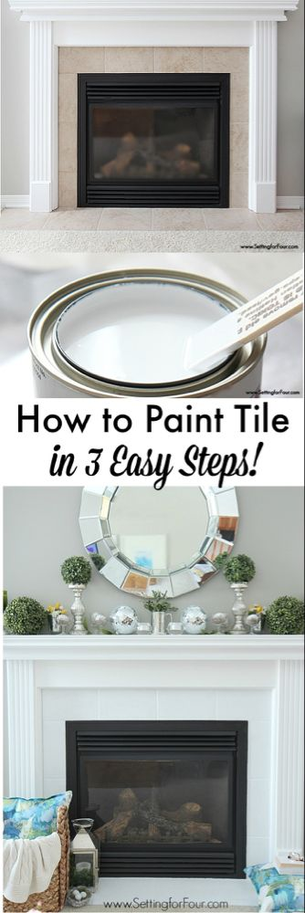 How to Paint Tile - Easy Fireplace Paint Makeover