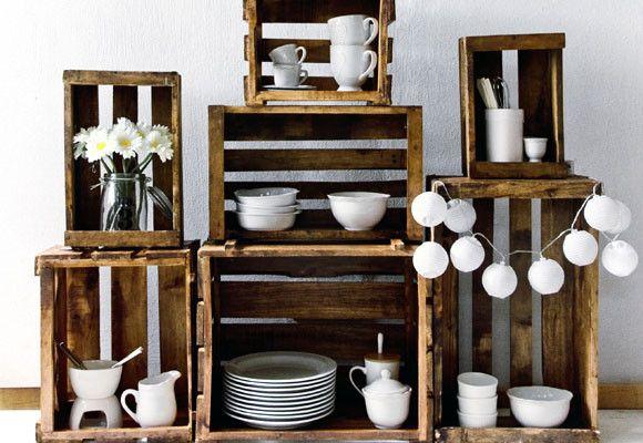 cajas de fruta de madera convertidas en muebles de cocina House - muebles para cocina de madera