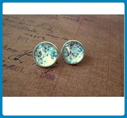 Glittering Iceberg Blue Silver and white Cabochon Stud Earrings - Wedding earings (*Amazon Partner-Link)