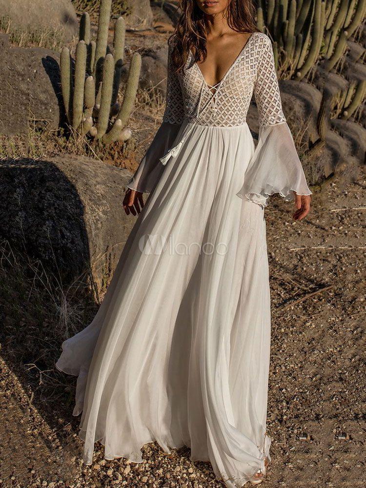 e1a05e66fed51 White Maxi Dress V Neck Lace Dress Long Sleeve Sheer Tassels Lace Up Party  Dress