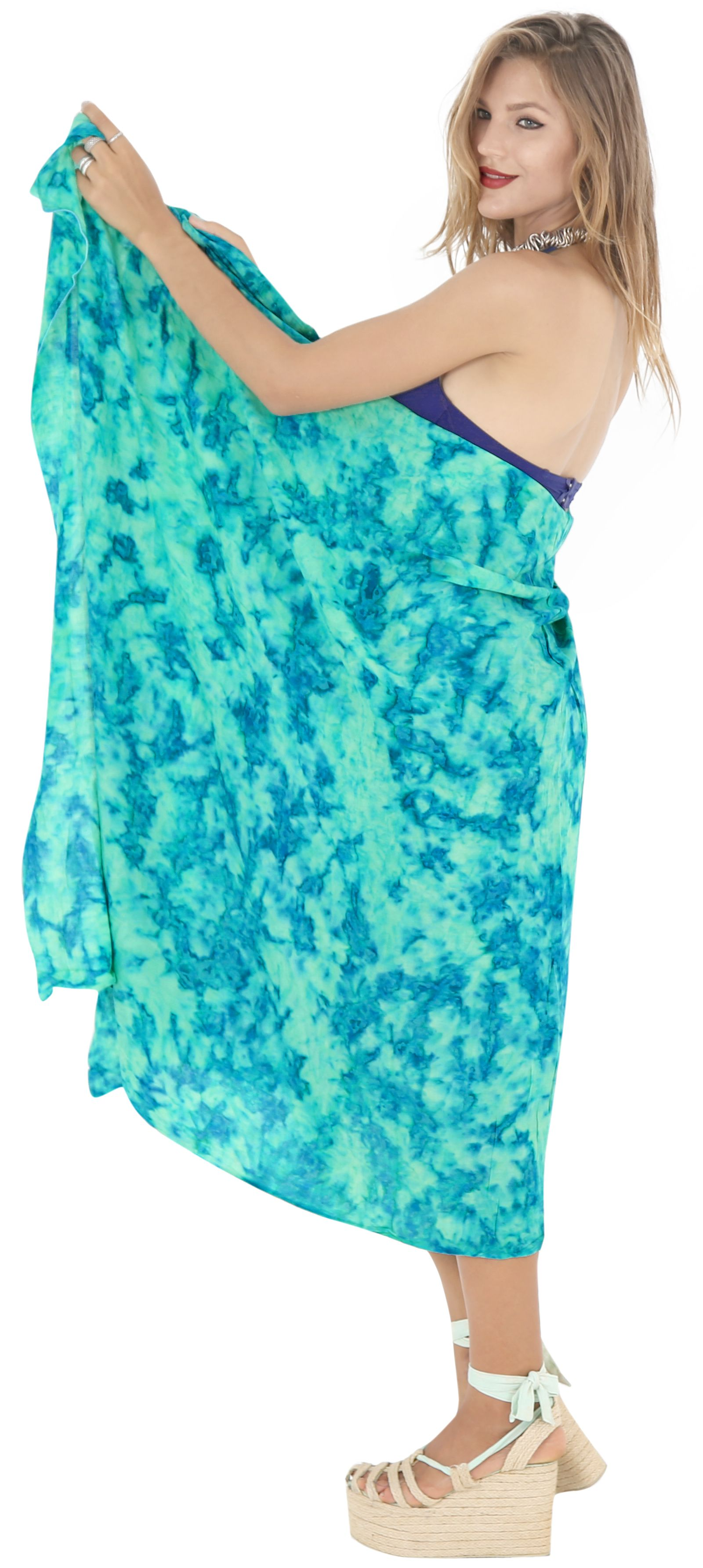 4687552bdc LA LEELA BEACH Rayon Casual WOMEN Bikini Scarf Wrap Long Sarong Swimsuit  Pareo#Rayon,