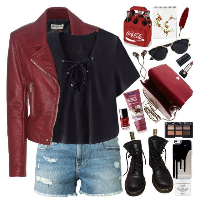 """""""Rocker Chic"""" by martinabb ❤ liked on Polyvore featuring Balenciaga, Frame Denim, Chicnova Fashion, Dr. Martens, NARS Cosmetics, The House of Marley, Christian Dior, Picnic Time, Marc Jacobs and Fresh"""