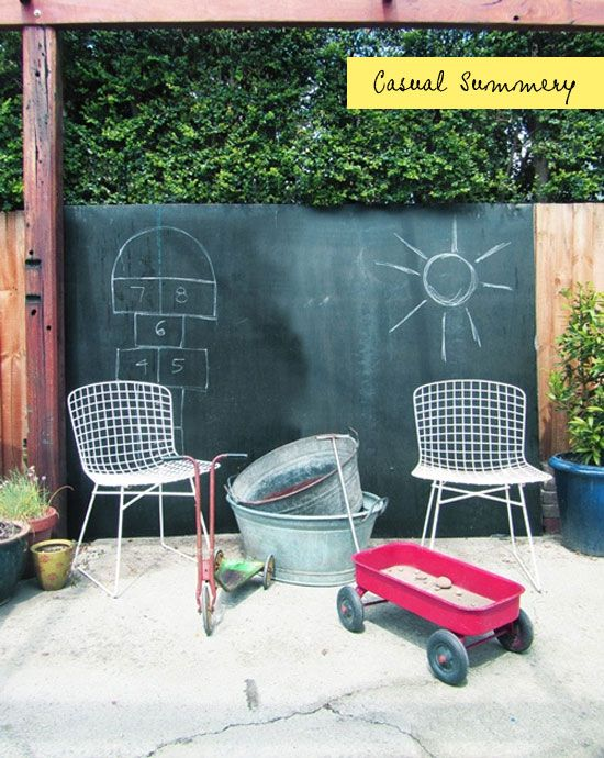 Paint Fence With Chalkboard
