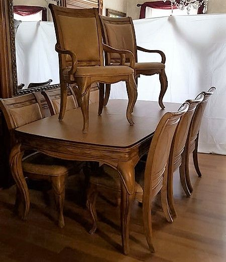 Pecan Wood Furniture Dining Room: Pecan Wood Dining Table With Two Inserts And 8 Chairs