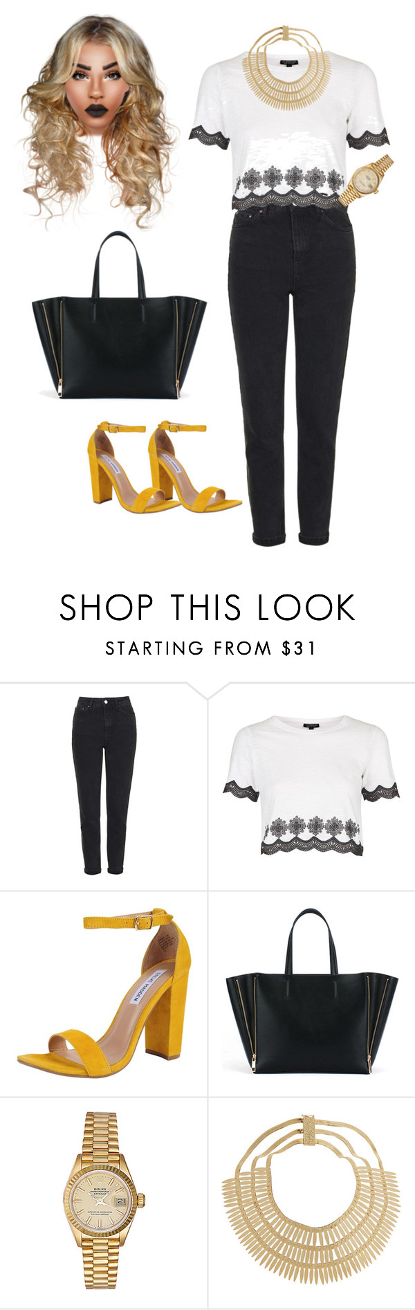 """Untitled #85"" by priscillay5 on Polyvore featuring Topshop, Steve Madden, Rolex and Rosantica"