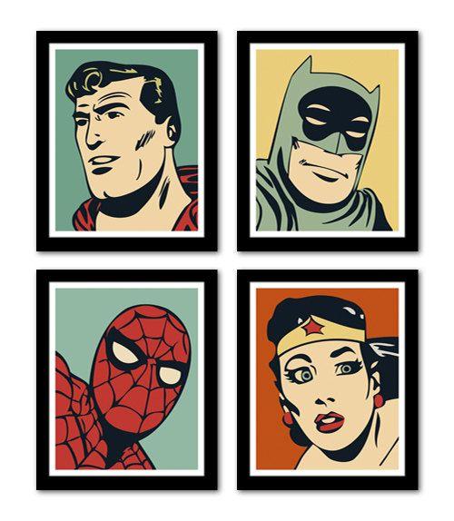Comic Nursery Number Art, 11x14 - Batman, Superman, Spiderman