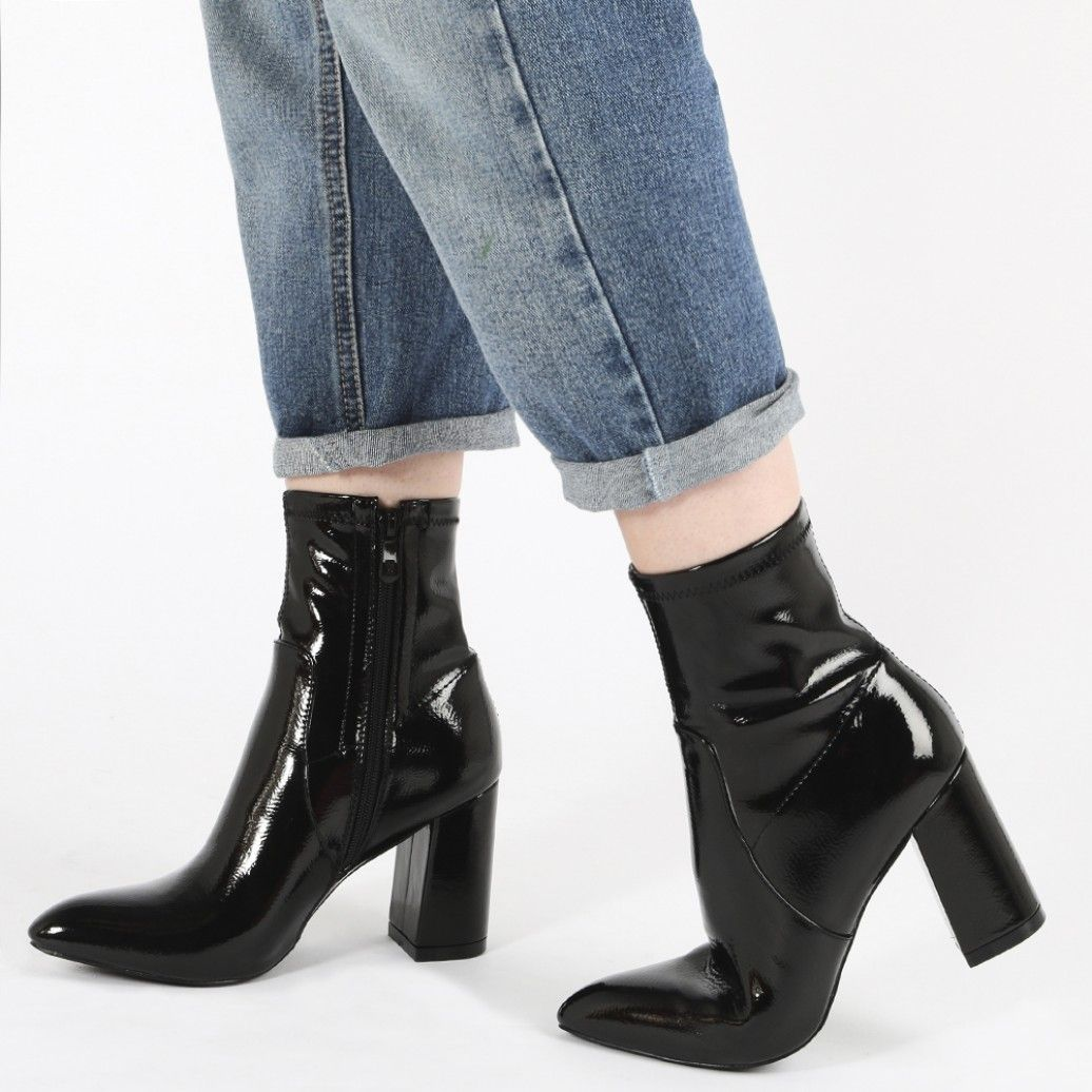 842c0072572 Raya Pointed Toe Ankle Boots in Black Patent | Fits. | Black sock ...