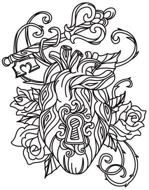 Locked Love Image Love Coloring Pages Skull Coloring Pages
