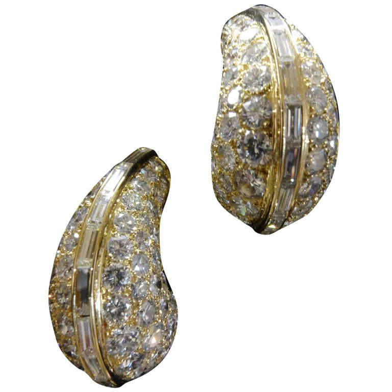 Yellow gold and diamonds earrings, hoops style. | From a unique collection of vintage hoop earrings at http://www.1stdibs.com/jewelry/earrings/hoop-earrings/