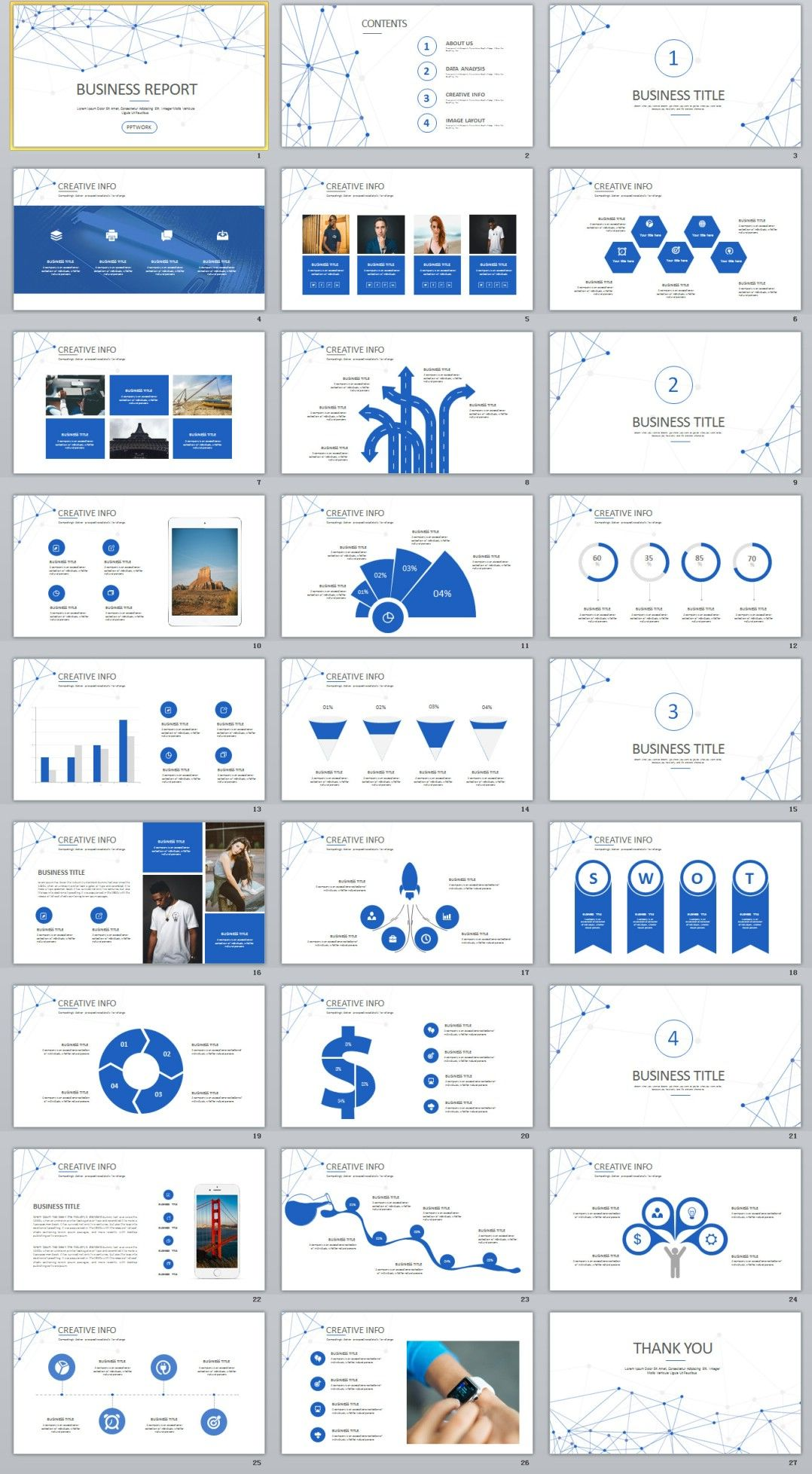 27 blue creative business powerpoint presentations template